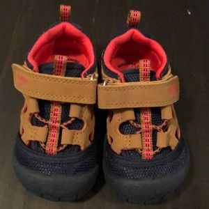 Baby boy size 4 tan, blue, and coral sandal
